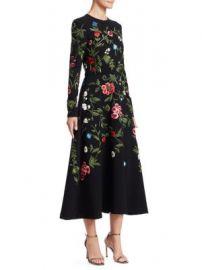 Oscar de la Renta - Long Sleeve Floral Embroidered Dress at Saks Fifth Avenue