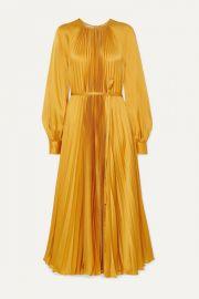 Oscar de la Renta - Pleated satin-crepe midi dress at Net A Porter