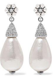 Oscar de la Renta - Silver-tone  crystal and faux pearl earrings at Net A Porter