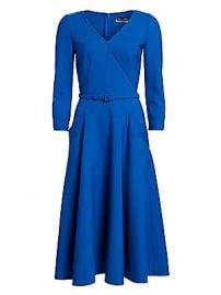Oscar de la Renta - Three-Quarter Sleeve Belted Midi A-Line Dress at Saks Fifth Avenue