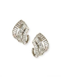 Oscar de la Renta Baroque Baguette Crystal Clip-On Earrings at Neiman Marcus