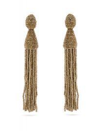 Oscar de la Renta Bead-embellished tassel-drop clip-on earrings at Matches