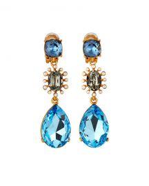 Oscar de la Renta Bold Mixed Jewel Earrings at Neiman Marcus