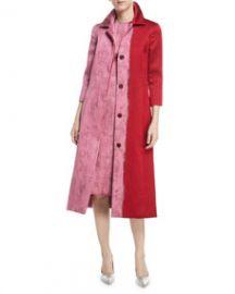 Oscar de la Renta Colorblock Jacquard A-Line Coat at Last Call