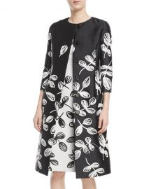 Oscar de la Renta Fern-Embroidered Sateen Coat   Neiman Marcus at Neiman Marcus