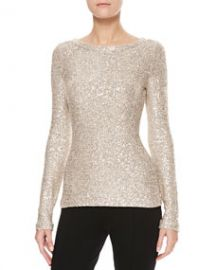 Oscar de la Renta Long-Sleeve Sequin Sweater Gold at Neiman Marcus