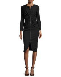 Oscar de la Renta Long-Sleeve Zip-Front Dress  Black   Neiman Marcus at Neiman Marcus