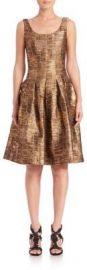 Oscar de la Renta Metallic Silk Fit-and-Flare Dress at Saks Fifth Avenue
