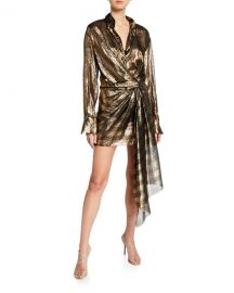 Oscar de la Renta Metallic-Striped Shirtdress at Neiman Marcus