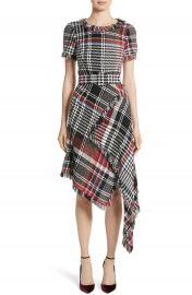 Oscar de la Renta Plaid Asymmetrical Dress at Nordstrom