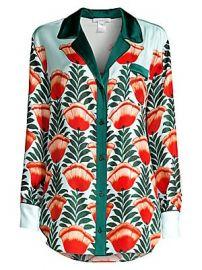 Oscar de la Renta Sleepwear - Floral Silk Sleep Shirt at Saks Fifth Avenue