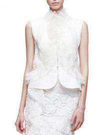 Oscar de la Renta Sleeveless Lace Peplum Jacket  White at Neiman Marcus