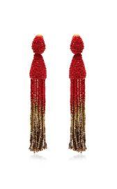 Oscar de la Renta Tassel Ombre Earrings in Claret at Moda Operandi