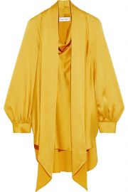 Oscar de la Renta Tie-neck draped satin-crepe blouse at The Outnet