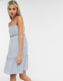 Other Stories floral print cami mini dress in blue at Asos