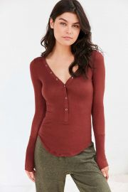 Out From Under Everyday Ribbed Henley Top at Urban Outfitters