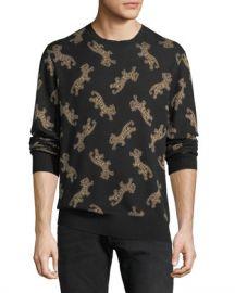 Ovadia  amp  Sons Men  x27 s Leopard Jacquard Sweater at Neiman Marcus