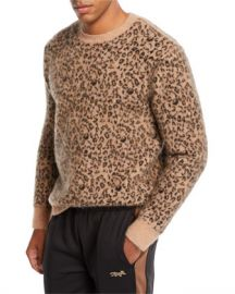 Ovadia  amp  Sons Men  x27 s Leopard Pattern Jacquard Crewneck Sweater at Neiman Marcus