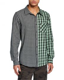 Ovadia  amp  Sons Men  x27 s Mixed Plaid Long-Sleeve Plaid Shirt at Neiman Marcus
