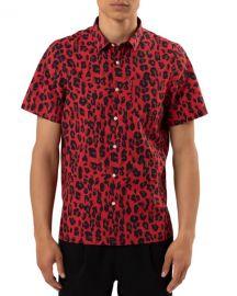 Ovadia Men  x27 s Leopard-Print Woven Shirt at Neiman Marcus