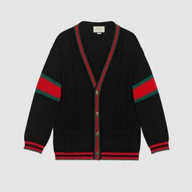 Oversize cable knit cardigan at Gucci