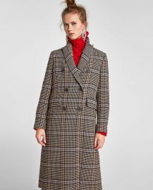 Oversized Check Coat at Zara