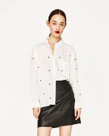 Oversized Embroidered Shirt at Zara