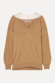 Oversized Mesh-Trimmed Sweater by Alexander Wang at Net A Porter