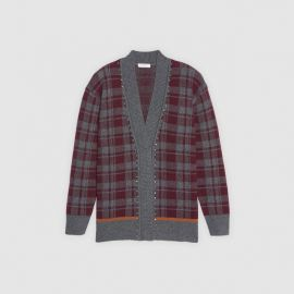 Oversized checked cardigan at Sandro
