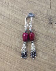 Oxblood Agate Hematite and Sterling Silver Dangle Earrings at SariBlue