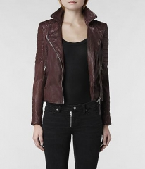 Oxblood leather jacket at All Saints