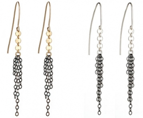 Oxidized Fringe Zipper Earrings at Peggy Li