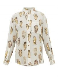 Oyster-Print Pearl-Embroidered Silk Blouse by Burberry at Matches