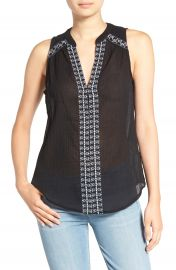 PAIGE  Lina  Embroidered Cotton Tank at Nordstrom