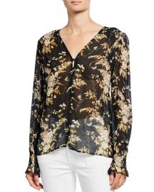 PAIGE Calliope Button-Front Silk Top at Neiman Marcus