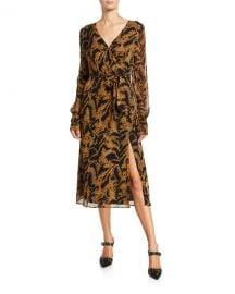 PAIGE Chamomile Printed Long-Sleeve Wrap Dress at Neiman Marcus