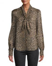 PAIGE Cleobelle Leopard-Print Tie-Neck Blouse at Neiman Marcus