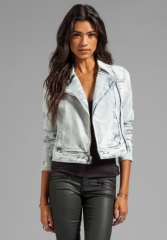 PAIGE DENIM Brooklyn Denim Moto Jacket in Snowfall at Revolve