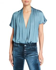 PAIGE Dijon Shirred Bodysuit at Neiman Marcus