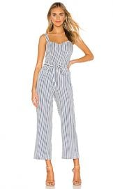 PAIGE Emma Jumpsuit in White  amp  Navy from Revolve com at Revolve