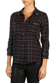 PAIGE Mya Embellished Plaid Shirt at Nordstrom