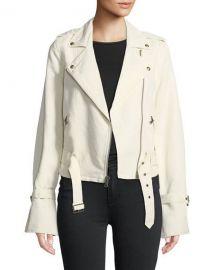 PAIGE Rhoda Zip-Front Twill Moto Jacket   Neiman Marcus at Neiman Marcus