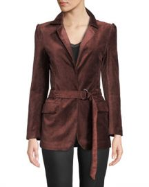 PAIGE Sorrenti Belted Velvet Blazer at Neiman Marcus