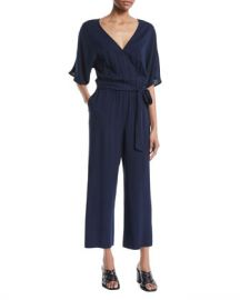 PAIGE Vanette Wrap-Front Short-Sleeve Draped Ankle Jumpsuit at Neiman Marcus