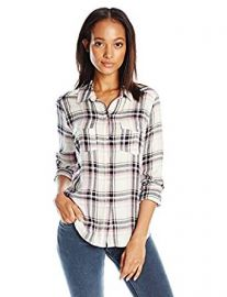 PAIGE Women s Mya Plaid Shirt-Cream Evening Blue Orchid at Amazon