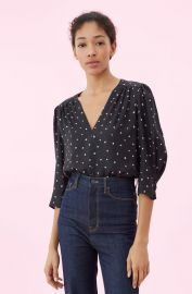 PAINTED DOT JACQUARD TOP at Rebecca Taylor