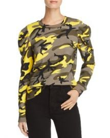 PAM  amp  GELA Puff-Sleeve Camo Sweatshirt  Women - Bloomingdale s at Bloomingdales