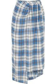 PAPER London - Siven checked silk midi skirt at Net A Porter