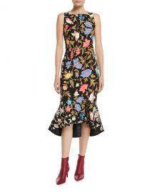 PETER PILOTTO KIA FLORAL CADY SQUARE-NECK FLOUNCE MIDI  at Bergdorf Goodman