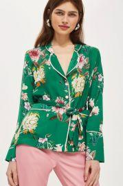 PETITE Floral Satin Pyjama Shirt at Topshop